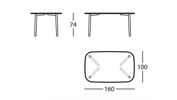 Nudo Basic Mesa 160x100x74