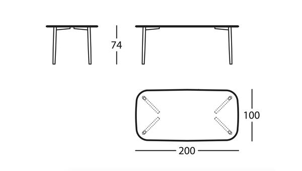 Nudo Basic Mesa 200x100x74